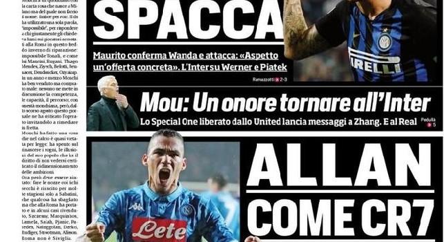 CorSport in prima pagina: Allan, il PSG ha offerto 80 mln. Il Napoli ne chiede 100, come quelli spesi dalla Juve per Ronaldo [FOTO]