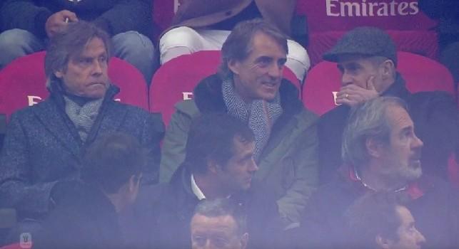 Milan-Napoli, il ct Mancini e il Ds del Barcellona Braida in Tribuna [FOTO]