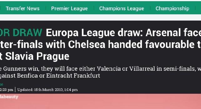 The Sun titola: Arsenal-Napoli è un sorteggio da incubo! Accoppiamento horror per i Gunners [FOTO]