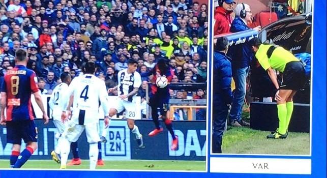 Genoa-Juve, rigore concesso per un tocco di mano di Cancelo: Mazzoleni al Var fa cambiare idea all'arbitro! [VIDEO]
