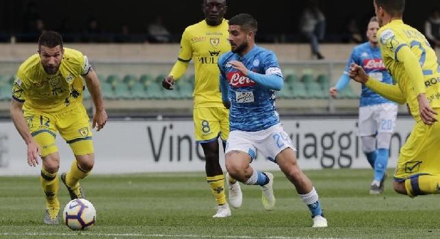 Lorenzo Insigne, in azione contro il Chievo Verona