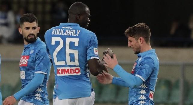 Koulibaly esulta in Chievo-Napoli