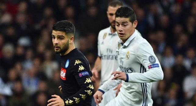 Lorenzo Insigne e James Rodriguez durante Real Madrid-Napoli