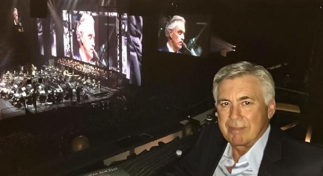 Ancelotti al concerto di Bocelli: Ho assistito a una grande performance di un fantastico artista, grazie! [FOTO]