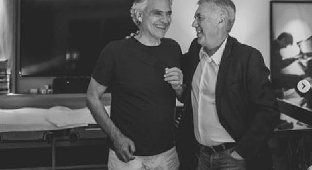 Ancelotti con Bocelli: Una piacevole serata con un amico. Parlando di calcio e di musica [FOTO]