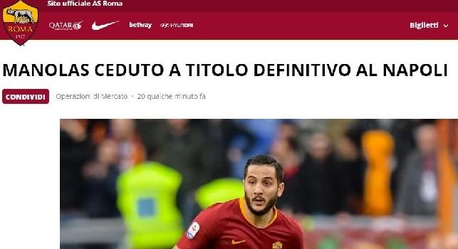 UFFICIALE - Kostas Manolas è del Napoli! Annuncio AS Roma: Ceduto per 36 milioni
