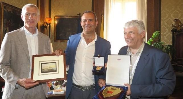 Universiade, Oleg Matytsin ed Eric Saintrond ricevuti da De Magistris a Palazzo San Giacomo
