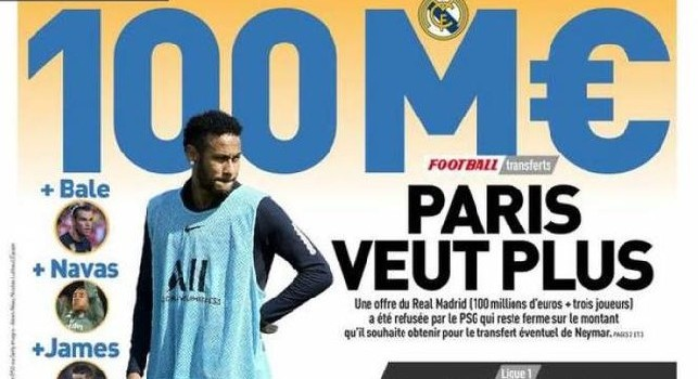 L'Equipe - Neymar, maxi offerta del Real Madrid: 100 milioni più James, Navas e Bale!