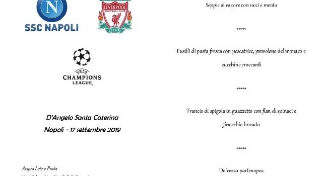 Pranzo UEFA da D'Angelo Santa Caterina, in anteprima il menu del banchetto fra Napoli e Liverpool [FOTO CN24]