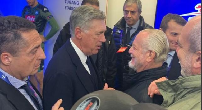 Carlo Ancelotti, allenatore del Napoli, ed il presidente Aurelio De Laurentiis