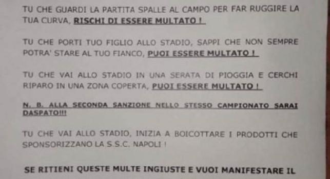 Volantino Curva B: Liberi di tifare, in occasione di Napoli-Genoa unisciti a noi all'esterno del San Paolo [FOTO]