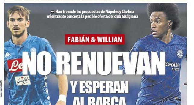 Mundo Deportivo in prima pagina: Fabian e Willian non rinnovano, li aspetta il Barcellona [FOTO]
