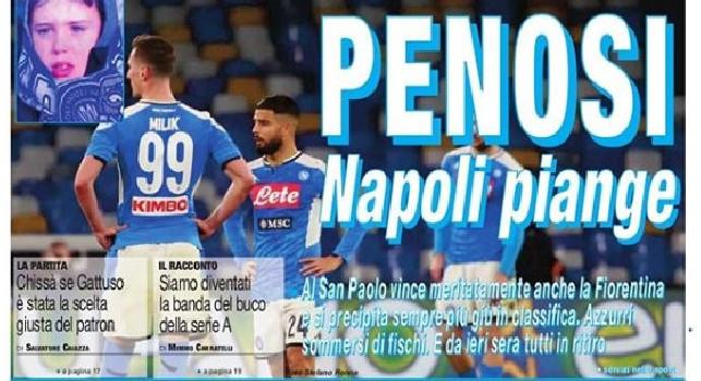 Il Roma in prima pagina: Penosi, Napoli piange [FOTO]