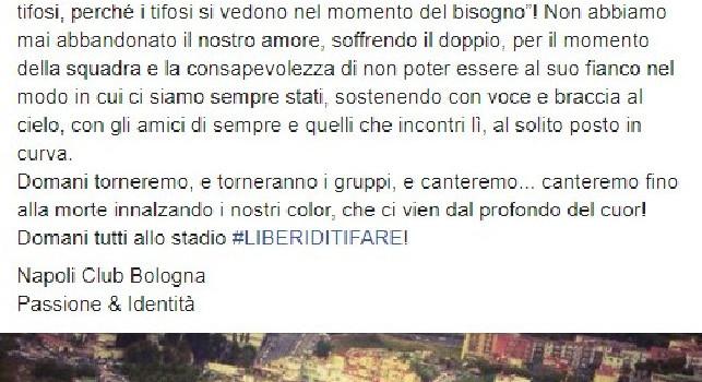 Il Napoli Club Bologna torna allo stadio San Paolo: Domani canteremo fino alla morte, non abbiamo mai abbandonato il nostro amore