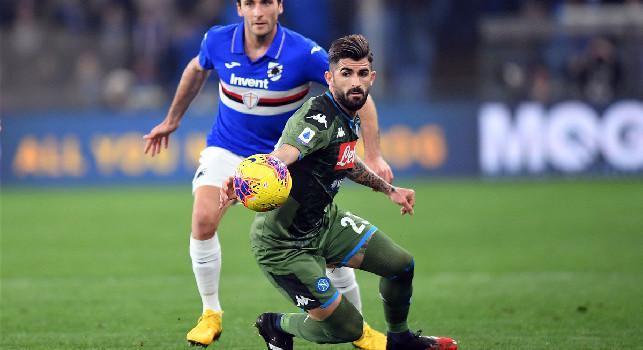 Cagliari-Napoli 0-1, ultimo cambio per gli azzurri: Mario Rui prende il posto di Hysaj