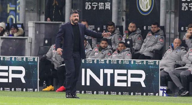 Inter-Napoli 0-1, ultimo cambio per Gattuso: entra Allan, esce Zielinski