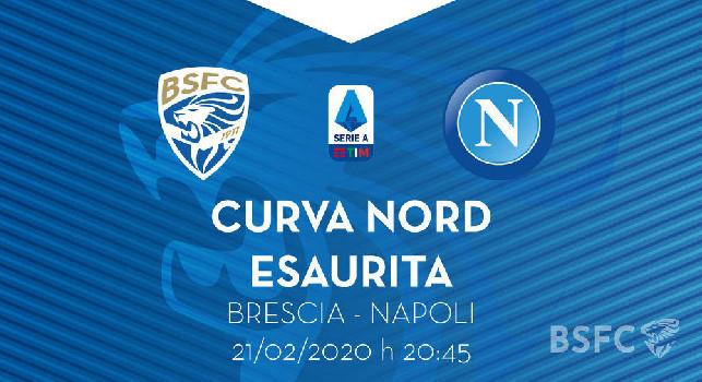 Brescia-Napoli, i lombardi annunciano: i biglietti per la Curva Nord sono esauriti