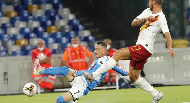 Napoli in vantaggio, Callejon impatta al volo l'assist di Mario Rui: 1-0!