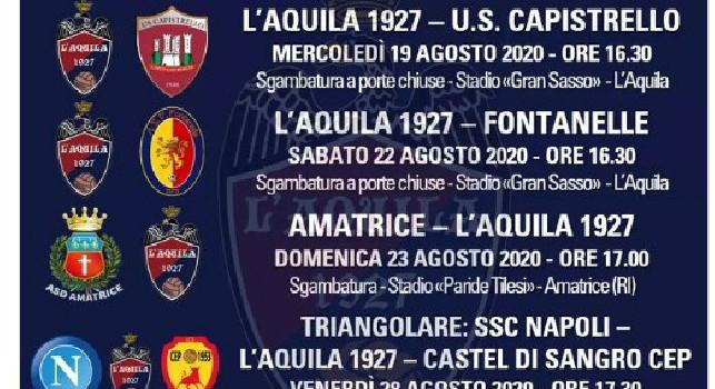 Ritiro a Castel di Sangro, ecco la prima sfida per il Napoli: un triangolare fissato il 28 agosto