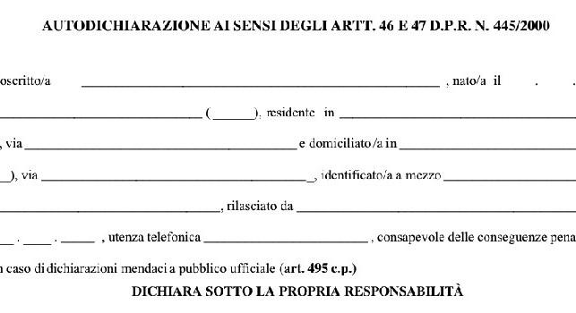 Autocertificazione Campania