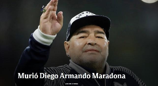 Dall'Argentina, Clarin: E' morto Maradona, fatale un attacco respiratorio