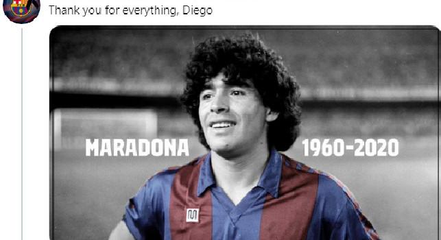 Il Barcellona saluta Maradona: Grazie di tutto, Diego [FOTO]