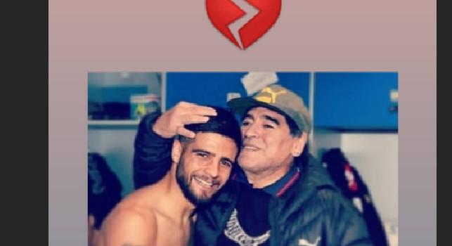 Morte Maradona, Insigne lo ricorda con un cuore spezzato [FOTO]