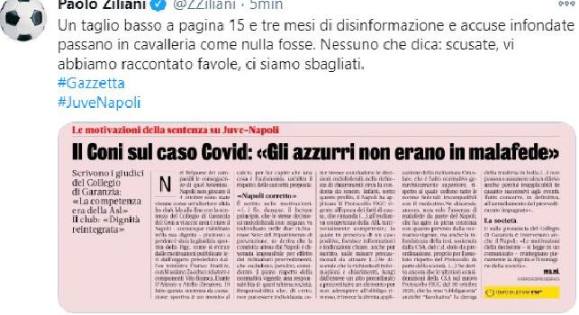 Juve-Napoli, Ziliani attacca Gazzetta: Un taglio basso a pagina 15 e tre mesi di disinformazione e accuse infondate, raccontate favole! [FOTO]