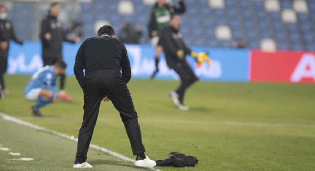 Dalla giacca gettata da Gattuso al calciatore 'preso di peso': le emozioni di Sassuolo-Napoli 3-3 [FOTOGALLERY CN24]