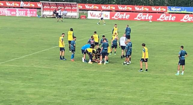 Dimaro, sbracciata di Petagna su Demme: il centrocampista resta a terra dolorante [FOTO CN24]
