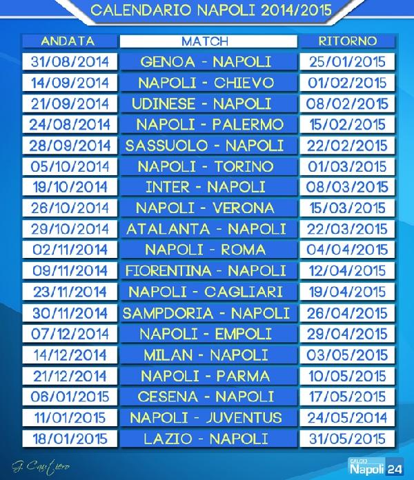 Calendario Napoli Serie A.Calendario Napoli Serie A 2014 2015 Calcionapoli24 Rockycaut